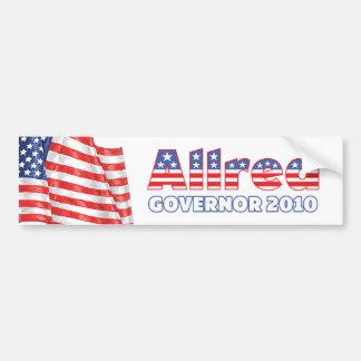 Allred Patriotic American Flag 2010 Elections Car Bumper Sticker