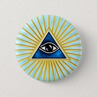 Allsehendes eye of God, pyramid, freemason 6 Cm Round Badge