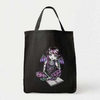 """Ally"" Emo School Girl Fairy Art Canvas Tote Bag"