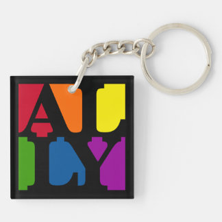 Ally Pop Black/White Double-Sided Keychain