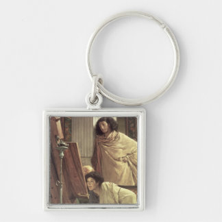 Alma-Tadema | A Visit to the Studio, 1873 Silver-Colored Square Key Ring