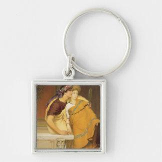 Alma-Tadema | The Mirror, 1868 Silver-Colored Square Key Ring