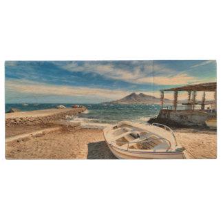 Almería, La Isleta Del Moro | Mar Mediterráneo Wood USB 2.0 Flash Drive