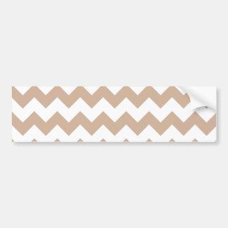 Almond and White Chevron Pattern Car Bumper Sticker