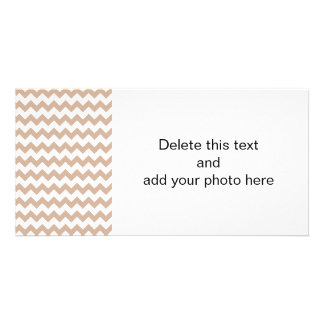 Almond and White Chevron Pattern Photo Cards