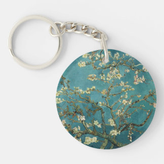 Almond Blossom Double-Sided Round Acrylic Key Ring