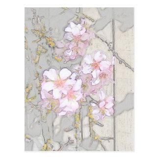 Almond Blossom Fence Postcard