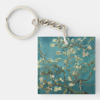 Almond Blossom Single-Sided Square Acrylic Key Ring