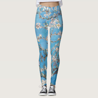 Almond Blossoms Blue Vincent van Gogh Art Painting Leggings