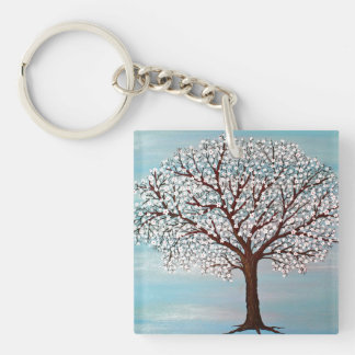"""Almond Blossoms"" Single-Sided Square Acrylic Key Ring"