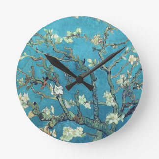 Almond Blossoms Round Clock