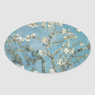 Almond branches in bloom, 1890, Vincent van Gogh Oval Sticker