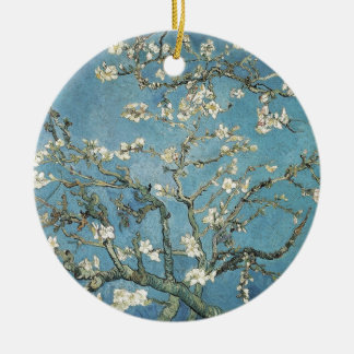 Almond branches in bloom, 1890, Vincent van Gogh Round Ceramic Decoration
