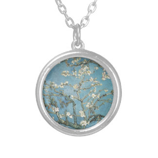 Almond branches in bloom, 1890, Vincent van Gogh Round Pendant Necklace