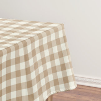 Almond Brown Gingham Cotton Tablecloth