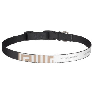 Almond Brown Tan White Greek Key Pattern Pet Collar