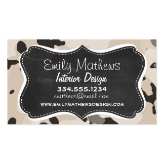 Almond Color Camo; Retro Chalkboard Pack Of Standard Business Cards