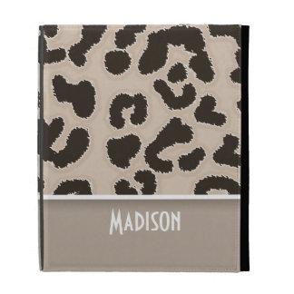 Almond Color Leopard Animal Print; Personalized iPad Folio Case