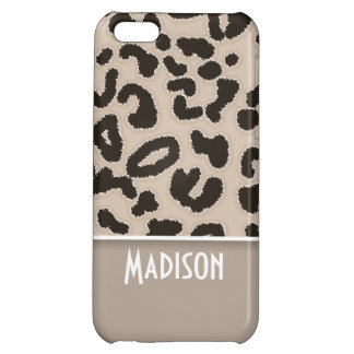 Almond Color Leopard Animal Print; Personalized iPhone 5C Case