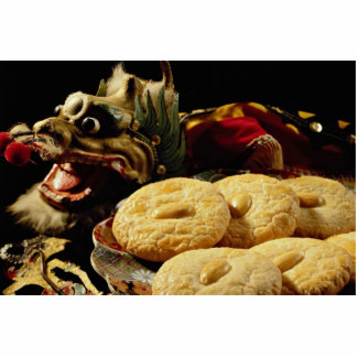Almond cookies with dragon standing photo sculpture