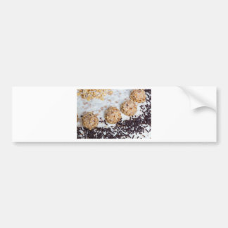 Almond nut cake with chocolate sprinkles detail bumper sticker