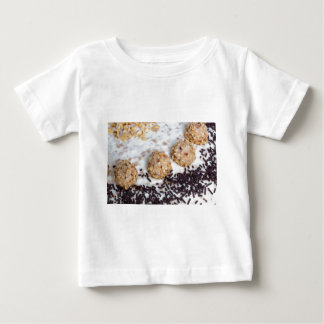 Almond nut cake with chocolate sprinkles detail t shirts