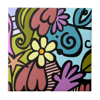 Almost Picasso Abstract Modern Art Tile