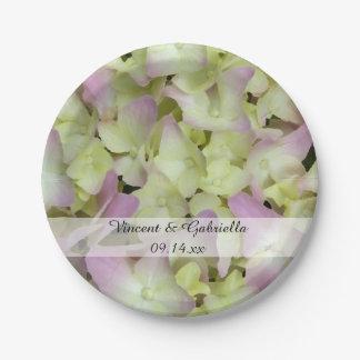Almost Pink Hydrangea Flowers Wedding Paper Plate