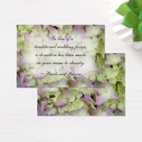 Almost Pink Hydrangea Wedding Charity Favour Card