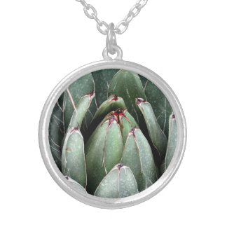 Aloe Vera Photo  Silver Plated Round Necklace