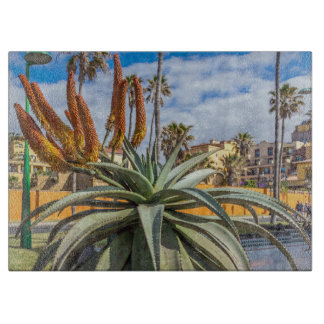 Aloe Vera plant and flowers glass Cutting Board