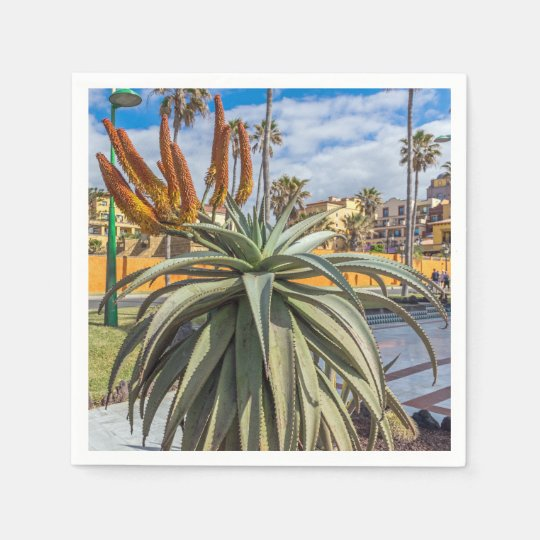 Aloe Vera plant and flowers Paper Napkin