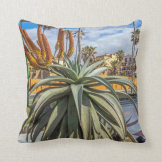 Aloe Vera plant and flowers throw cushion