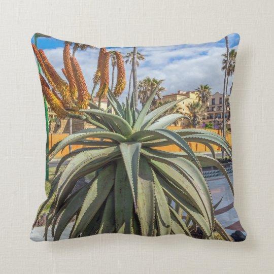 Aloe Vera plant and flowers throw cushion
