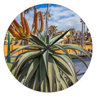 Aloe Vera plant and flowers wall clock