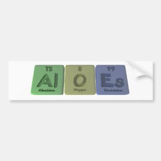 Aloes-Al-O-Es-Aluminium-Oxygen-Einsteinium Car Bumper Sticker