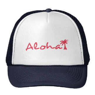 Aloha and palm tree in grunge cap