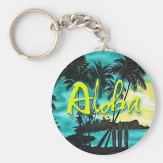 Aloha Aqua Sunset Keychain
