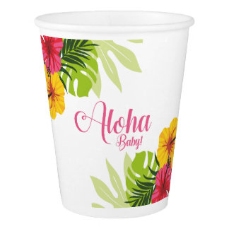 Aloha Baby Shower Tropical Paper Cups