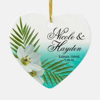 Aloha Beach Tropical Flowers Photo Ceramic Heart Decoration