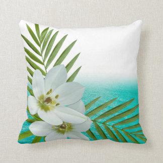 Aloha Beach Tropical Flowers Throw Pillow