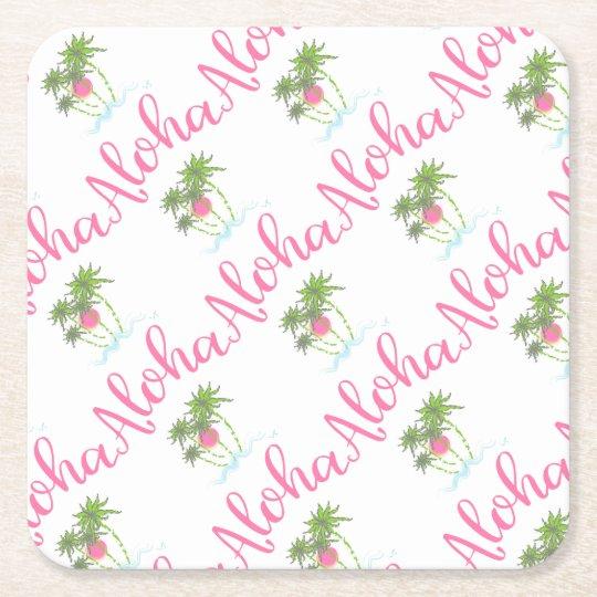 Aloha-Beaches Hawaiian Style Vacation Cool Square Paper Coaster