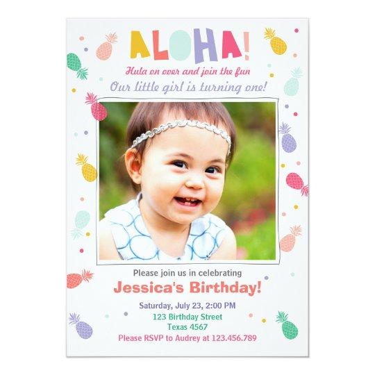 Aloha birthday invitation Tropical Luau Party Girl
