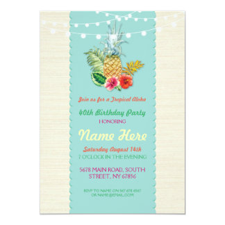 Aloha Birthday Party Aqua Aloha Pineapple Invite