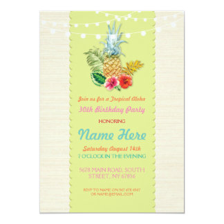 Aloha Birthday Party Luau Aloha Pineapple Invite