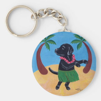 Aloha Black Labrador Basic Round Button Key Ring
