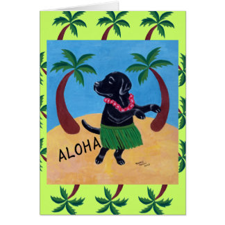 Aloha Black Labrador Card