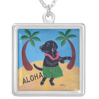 Aloha Black Labrador Silver Plated Necklace
