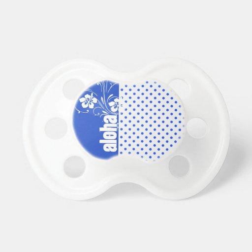 Aloha; Blue Polka Dots Pacifiers