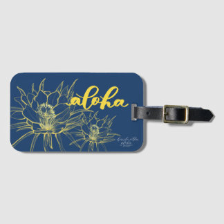 Aloha Blue Yellow Cereus Luggage Tags